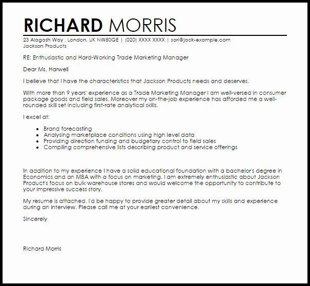 Cover Letter Sample Marketing
