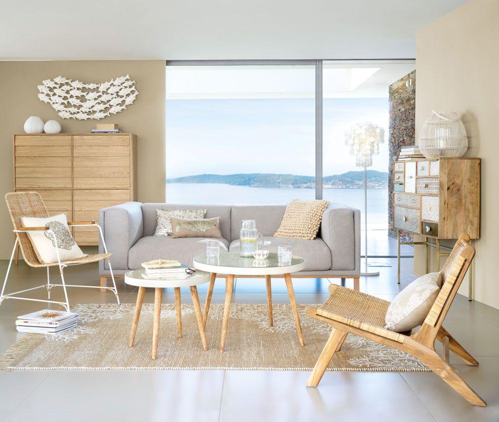 Maison Du Monde Credenze Bianche credenza alta a 4 ante e piedi in legno massello di quercia