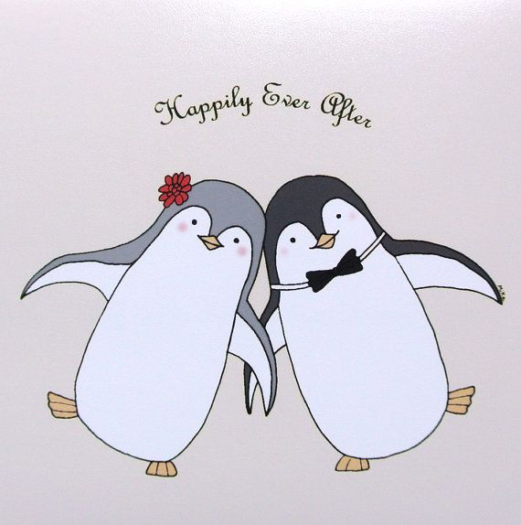 Penguin Love Illustration Print Cute Penguin by mikaart on Etsy ...