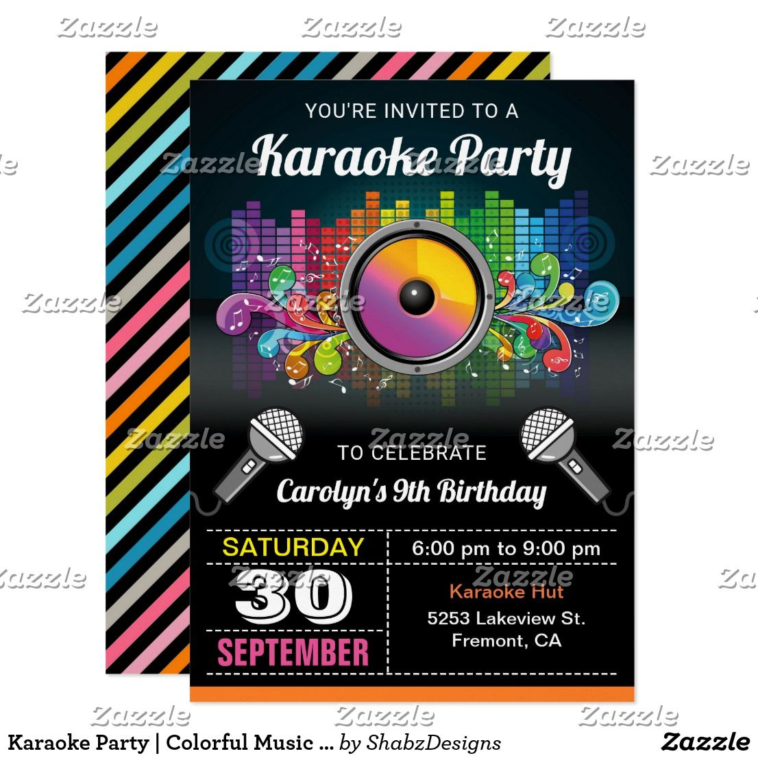 Karaoke Party | Colorful Music Birthday Invitation | Karaoke party ...