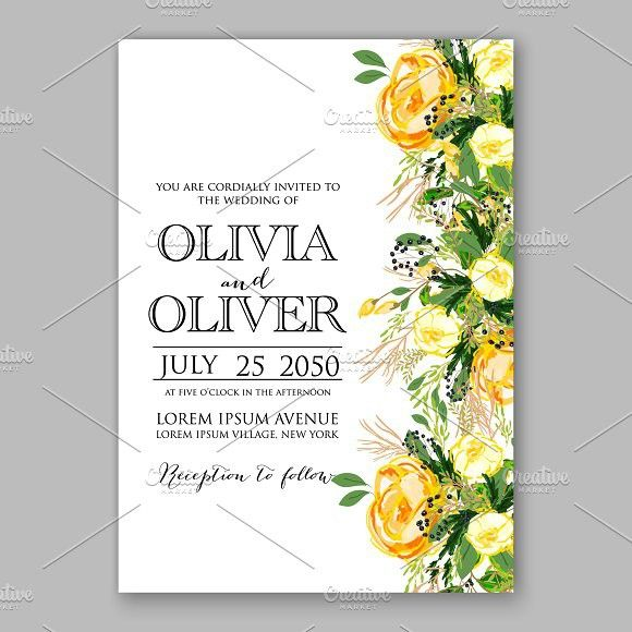 Wedding Invitation Yellow Rose Yellow Wedding Invitations Yellow Rose Wedding Rose Wedding Invitations