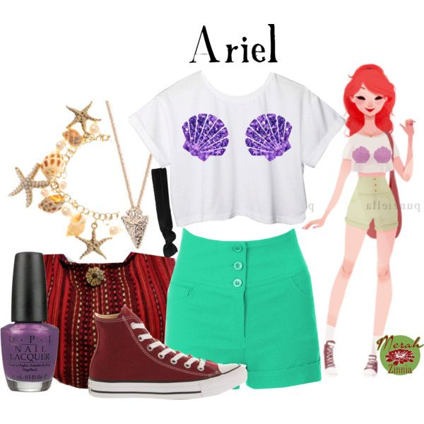 d915dca8c Punziella: Ariel by merahzinnia on Polyvore featuring Disney, Converse,  With Love From CA, Glam Bands and OPI