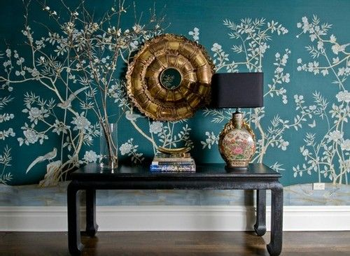 PERFECT foyer vignette by Melissa Rufty. How gorgeous is the deep teal colorway of this paper?