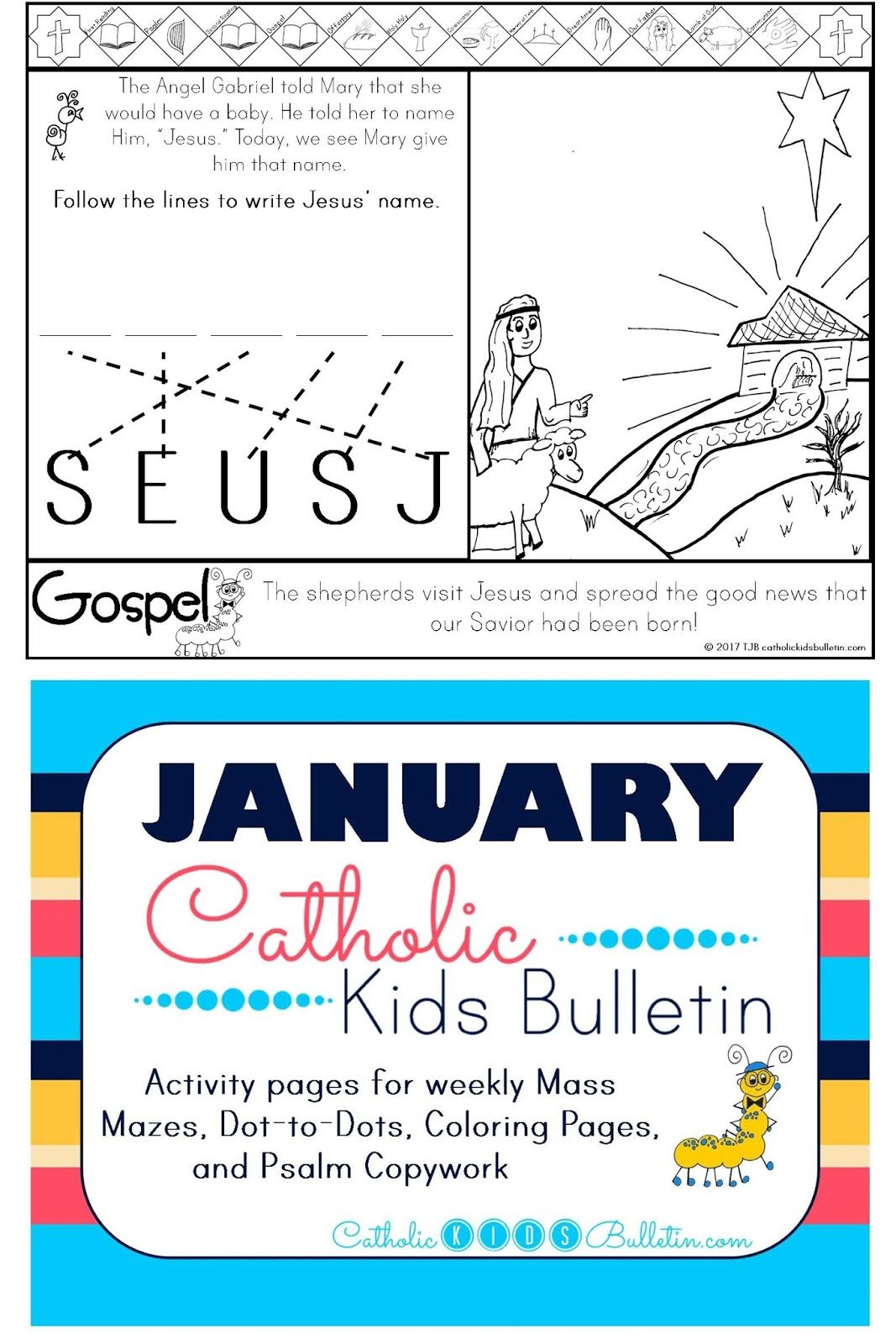 Free Catholic Mass Bulletins And Coloring Pages Luke 2 16 21 Shepherds Visit Baby Jesus