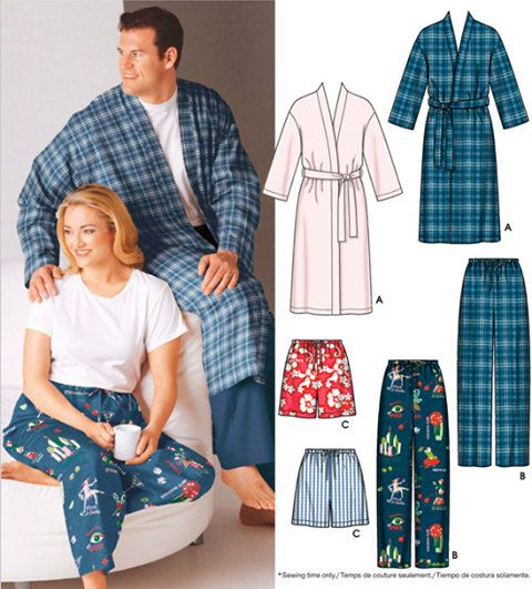 PLUS SIZE Sleepwear Sewing Pattern - UNISEX Pajamas Pants Shorts ...