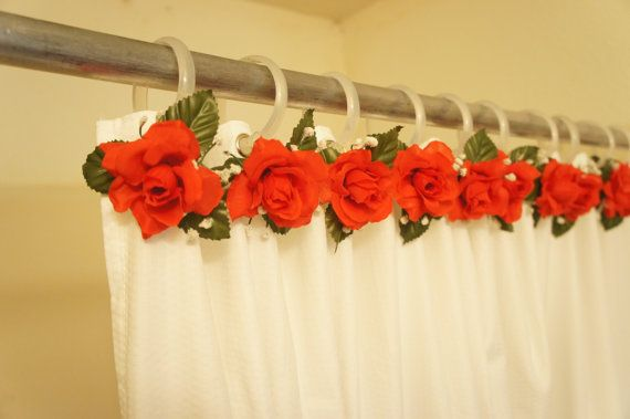 Red Rose Theme Shower Curtain Decor 12 Set For By Tucaanadesigns