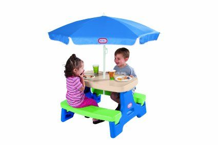 Amazon Com Little Tikes Easy Store Junior Table With Umbrella Toys Amp Games Kids Picnic Table