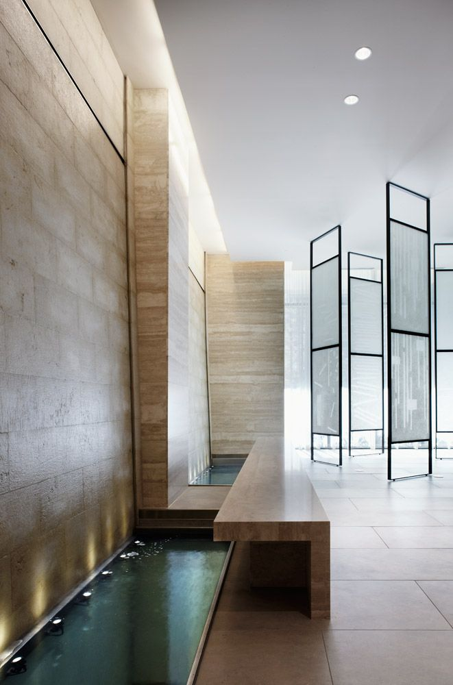 Travertine walls and long water feature, the Yonge  Eglinton