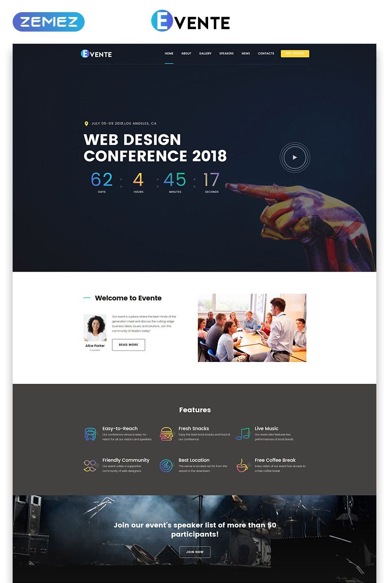 Evente Web Design Conference Landing Page Template Landingpage Design Web Evente Conference Design Web Design Web Design Tips