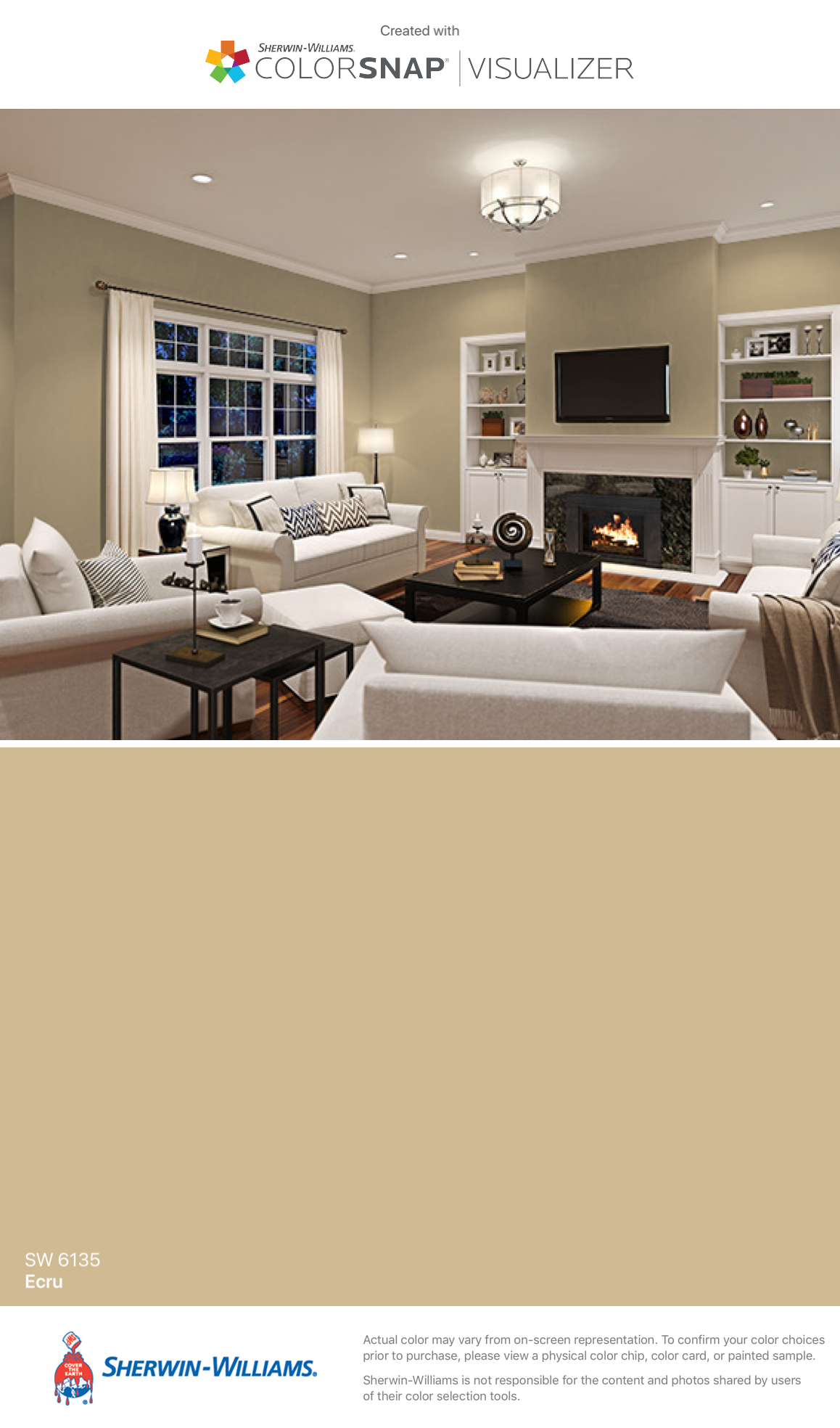 I Found This Color With Colorsnap Visualizer For Iphone By Sherwin Williams Ecru Sw 6135 See The Pin Home Sherwin Williams Paint Colors Living Room Color