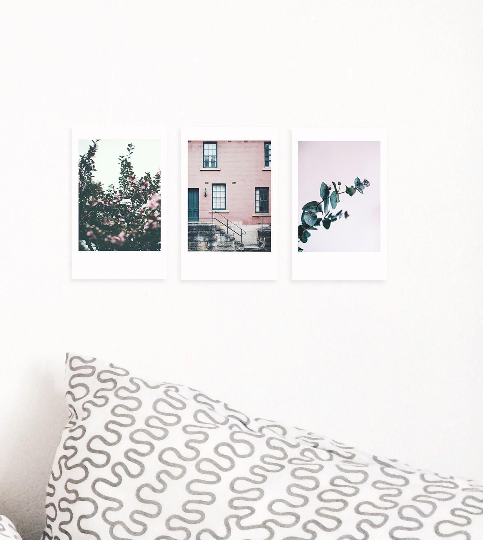 Printable Room Decor Set Of 3 Printable Polaroid Photos Pink Wall Decor Eucalyptus