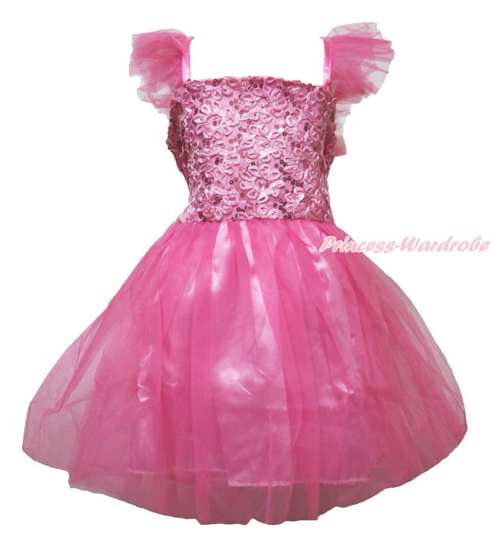 Hot Pink Sequins Bling Flowers One Piece Party Dress Kids Girl ...