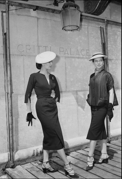 1951 Alla (l) and Sylvie Hirsch modelling Christian Dior outfits outside the Gritti Palace hotel