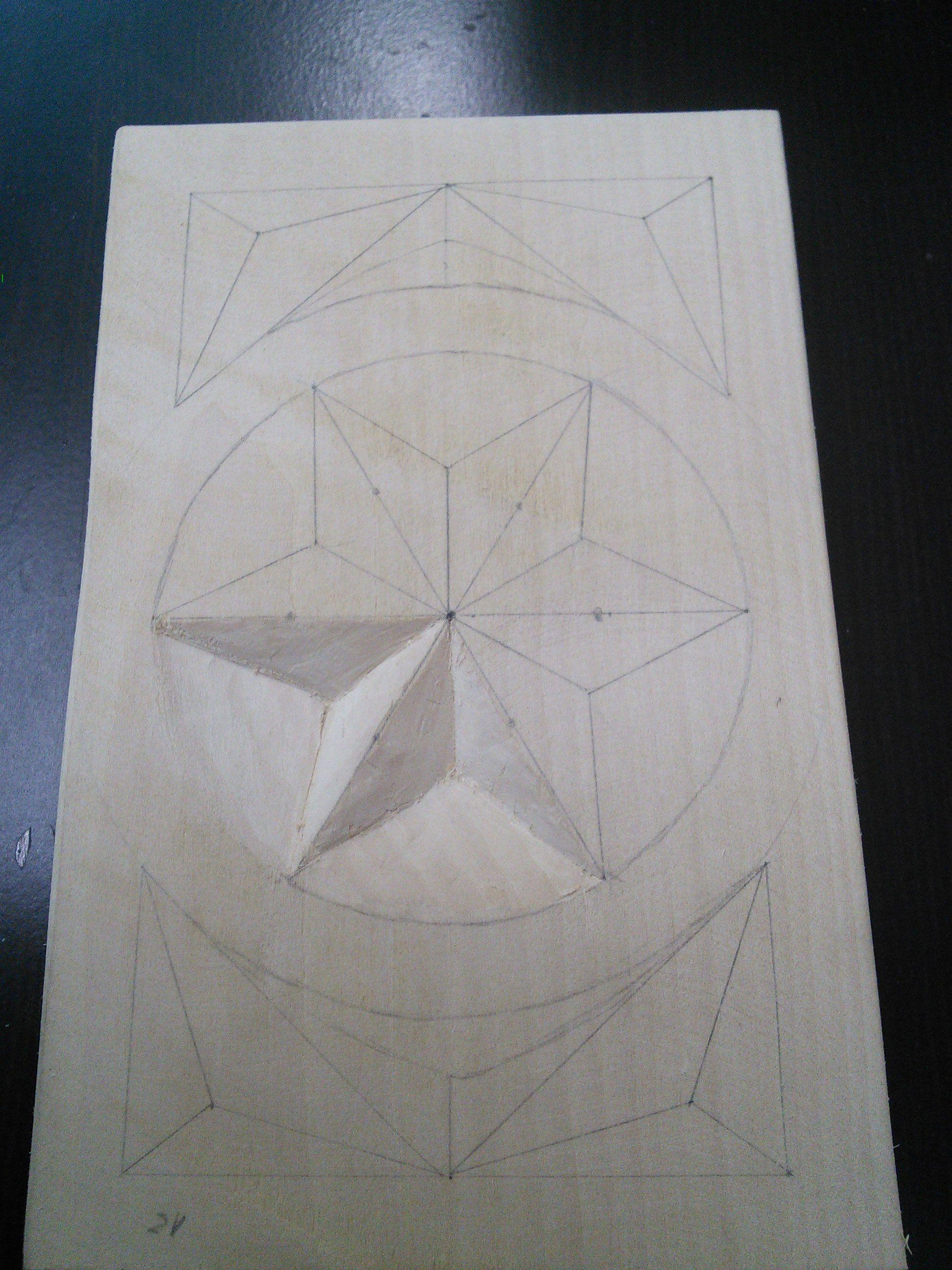 Ejercicio alumno talla en madera tallado