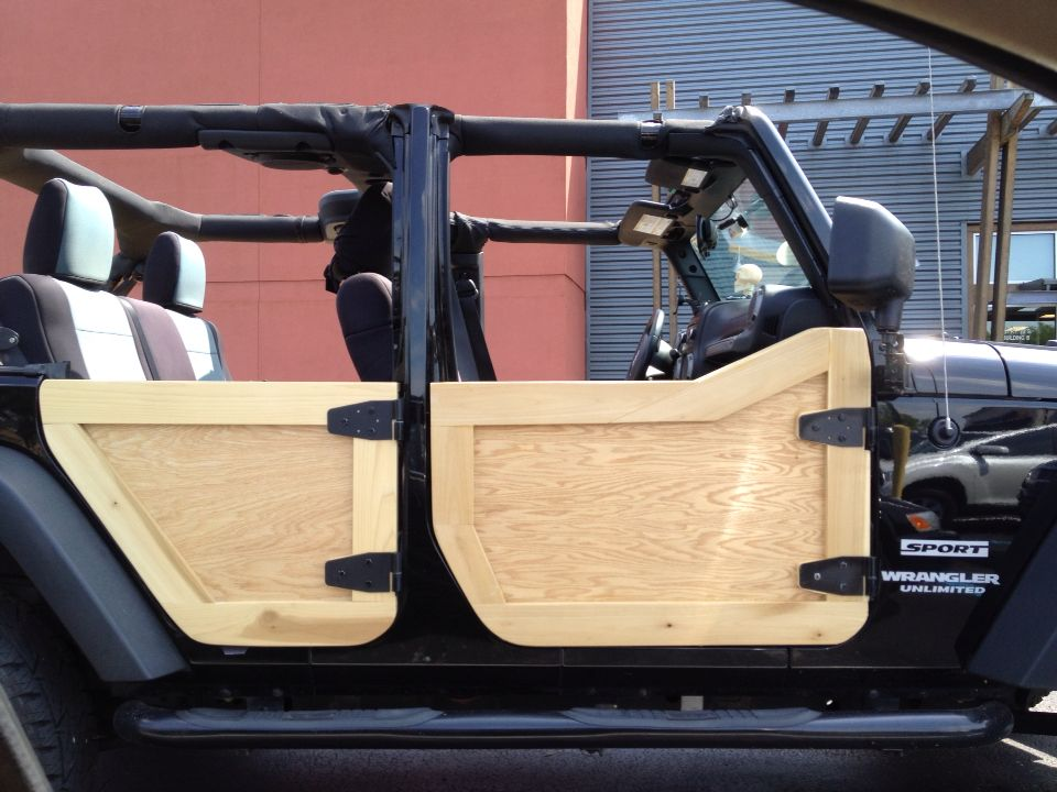 Custom Wooden Doors On Jeep Wrangler Jeep Wrangler Jeep Doors Jeep Wrangler Diy