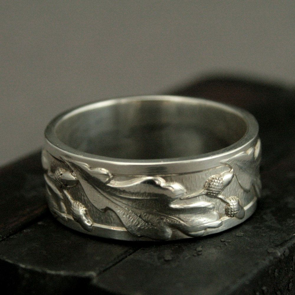 Band oak ring acorn band mens wedding ring leaf band