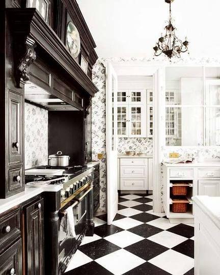 Designing Around Black White Checkerboard Kitchen Floors Black White Kitchen White Kitchen Floor White Kitchen
