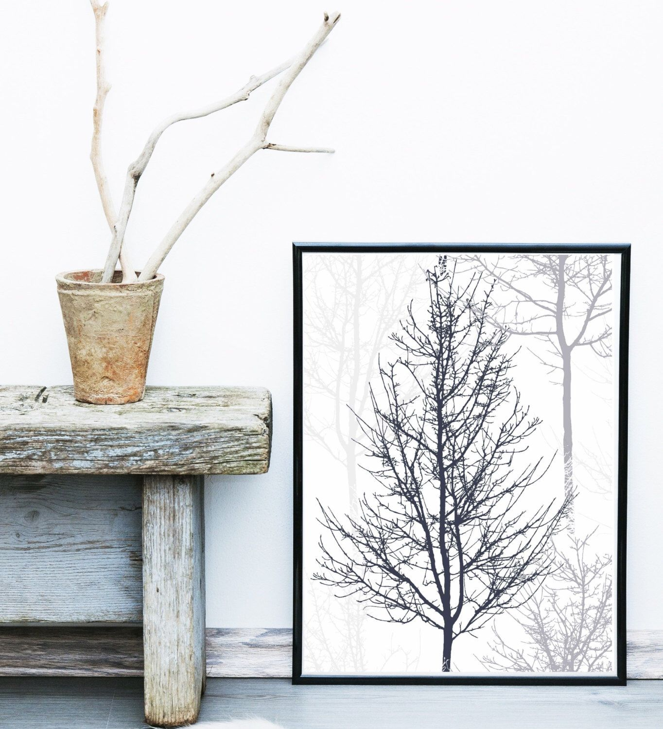 Scandinavian print forest print tree art black and white wall art