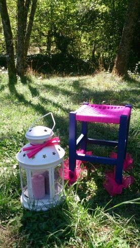 Diy tabouret pink, inspiration jardin romantique. C'est moi qui l'ai fait !! #pink électrique ⚡