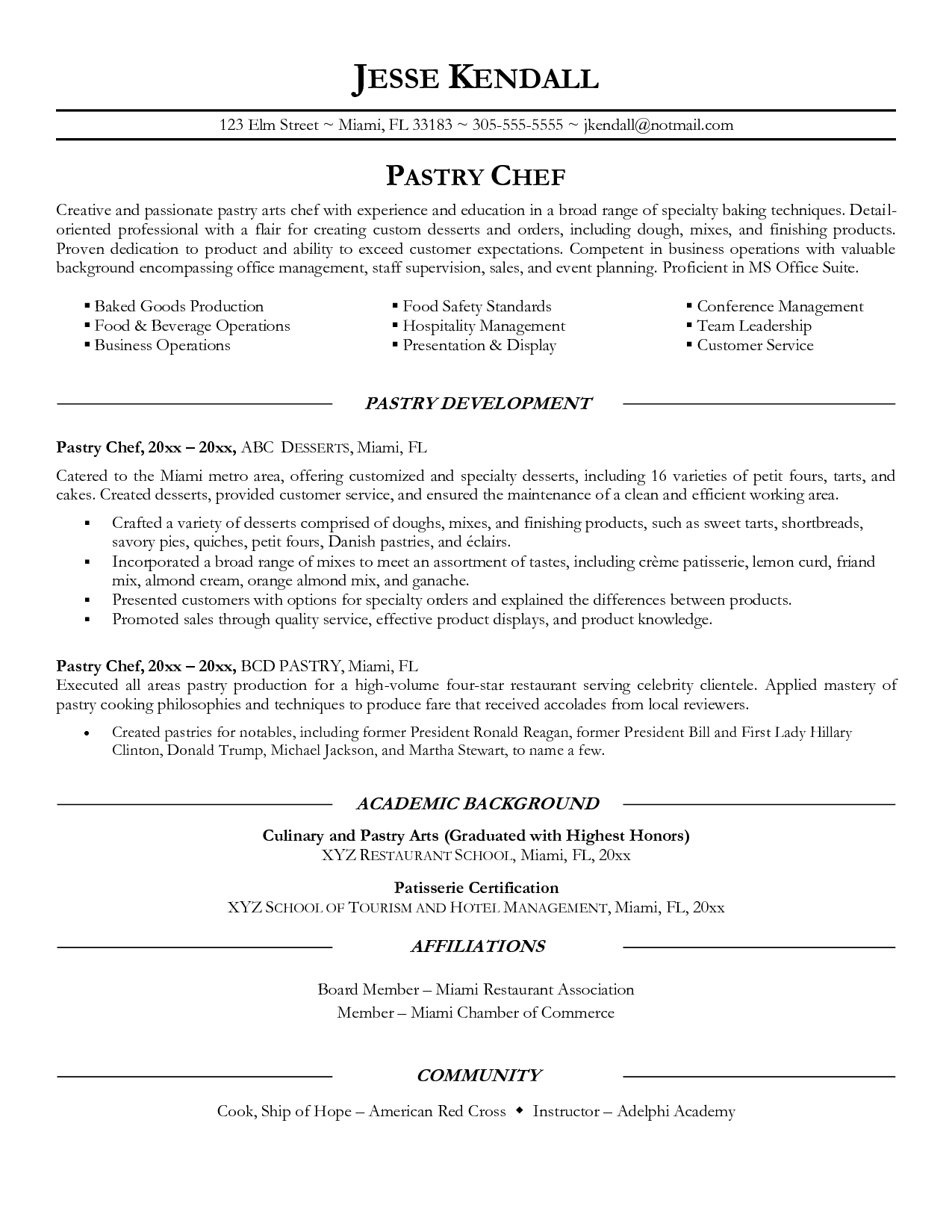 Pastry Chef Resume Sample Chef resume, Resume objective