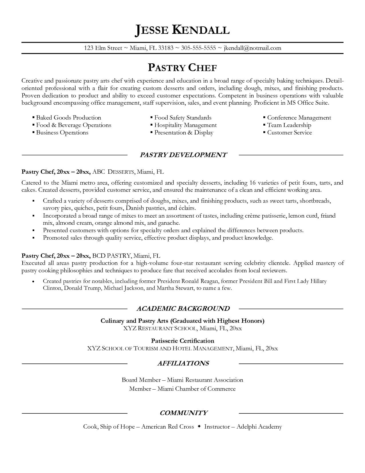 Pastry Chef Resume Sample Resume Chef Resume Resume