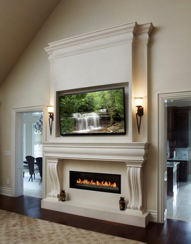 Perfect White Omega Cast Stone Custom Made Fireplace Mantel And Overmantel With  Mounted TV   Omegamantels.