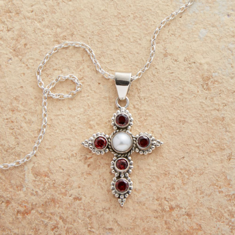 Garnet and pearl cross necklace products crosses and tools cross necklaces aloadofball Gallery