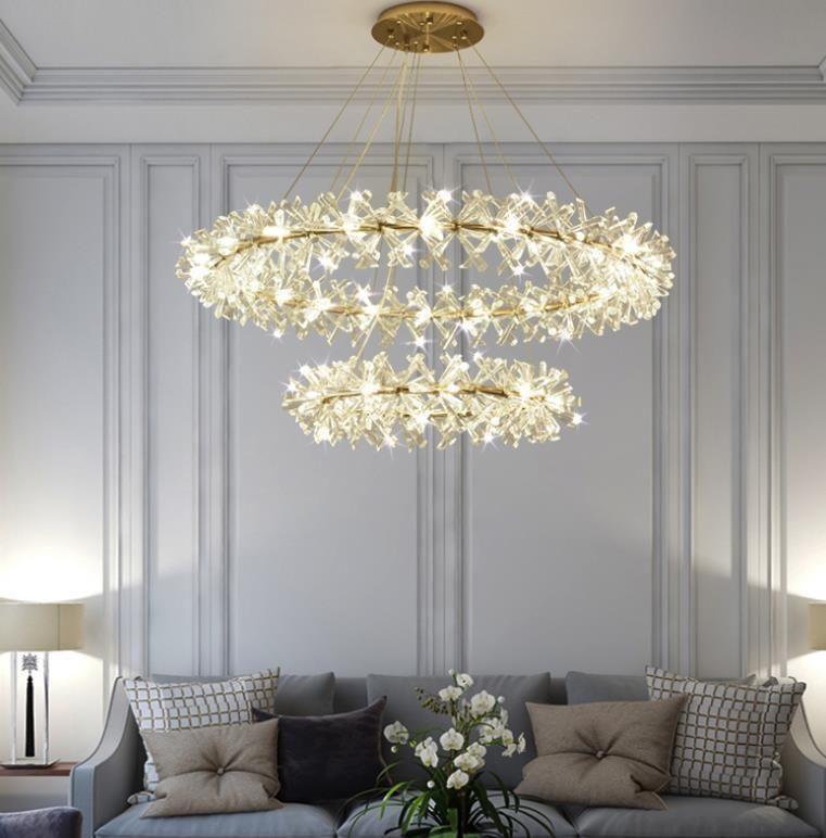 Crystal Living Room Chandeliers Modern Luxury Foyer Round Hanging Light In 2020 Chandelier Living Room Modern Chandelier In Living Room Modern Chandelier