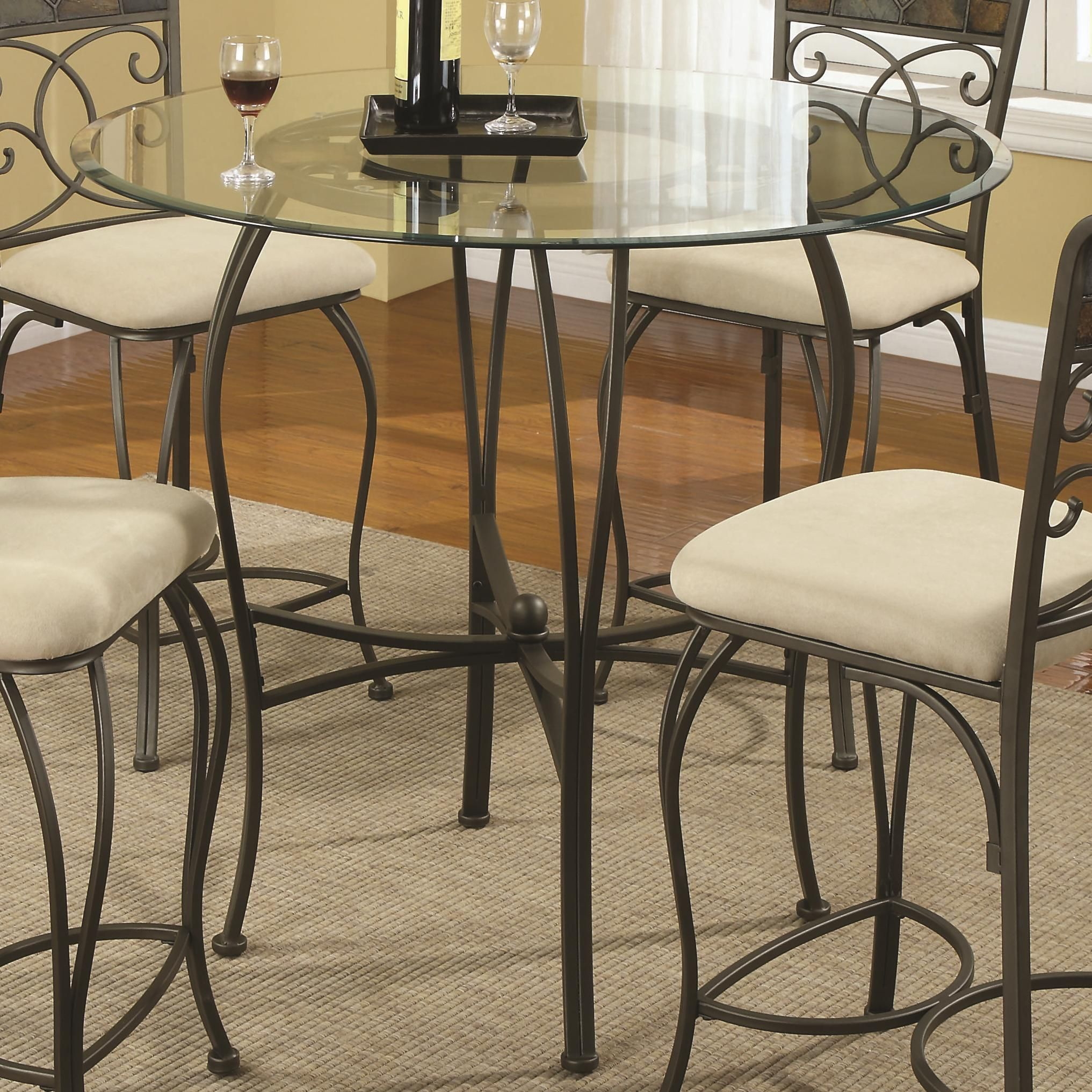 120831 Counter Height Glass Top Dining Table With Metal Base