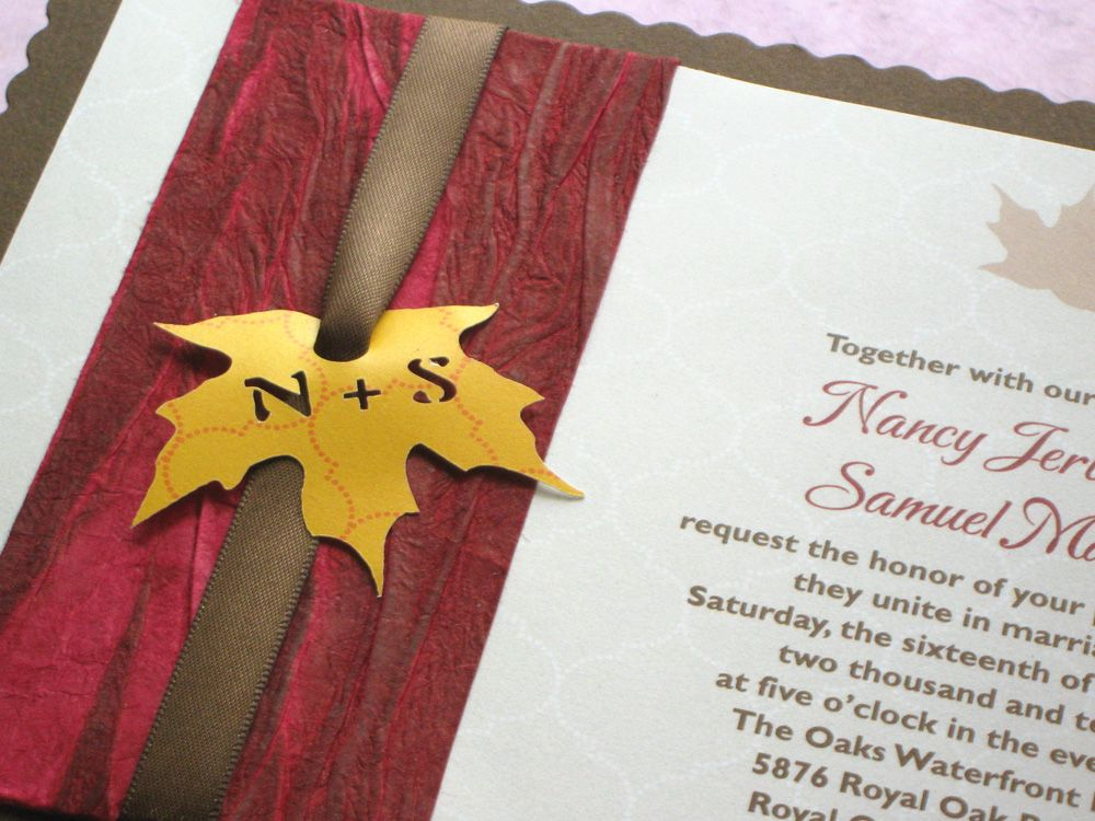 Maple Leaf Rustic Wedding Invitation with Country Vintage Scallop ...
