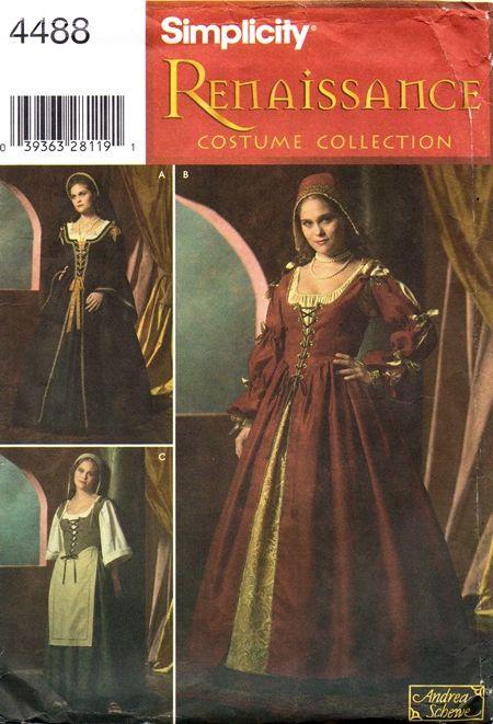 Simplicity 4488 Renaissance Lady\'s or Servant\'s Costume 2005 / SZ8 ...