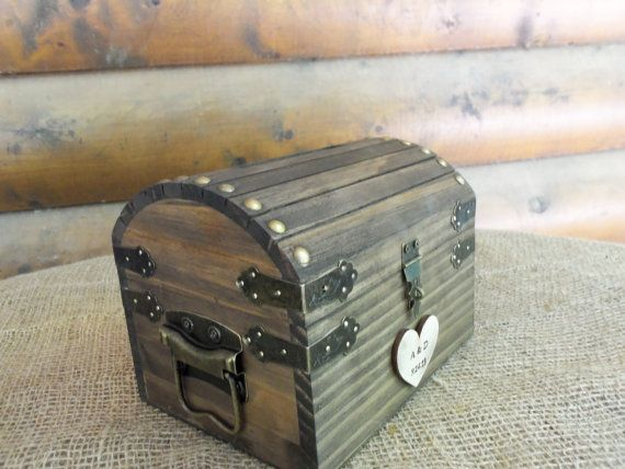 Cute Rustic Wedding Box With Personalized Heart Slot And Lock