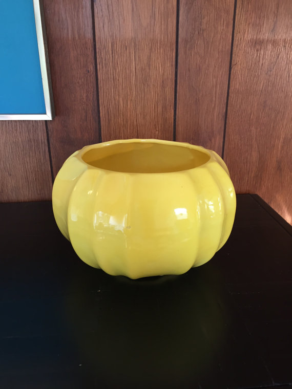 Bright Yellow Midcentury Ceramic Round Planter In 2018 Products