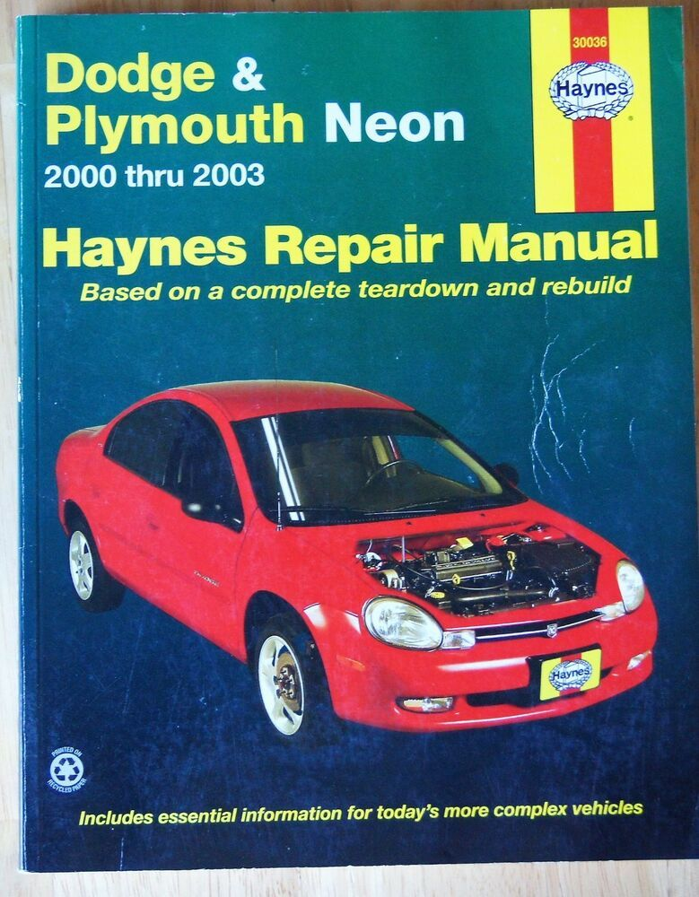 Haynes Auto Repair Manual 30036 Dodge Neon 2000 2003