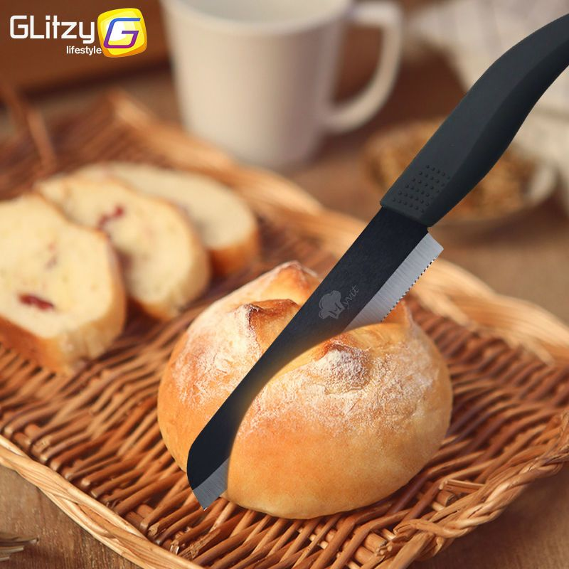 سكين سيراميك مسنن للخبز مطبخ زركونيا سكين حاد اسود 6 بوصة 4 مقابض ملونه مع حماية للغطاء Ceramic Knife Serrated Bread Kitch Bread Kitchen Bread Ceramic Knife