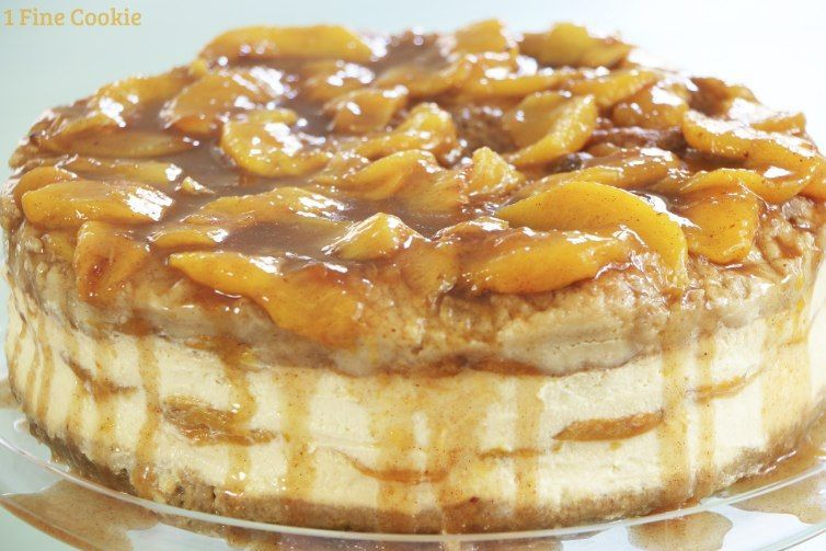 Peach Cobbler Cheesecake with Pretzel Crisp Pie Crust - 1 Fine Cookie #peachcobblercheesecake Peach Cobbler Cheesecake with Pretzel Crisp Pie Crust - 1 Fine Cookie #peachcobblercheesecake