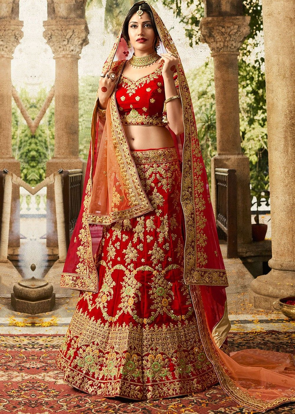 fa1e376816 Red Velvet Bridal Lehenga Choli with Dupatta | Latest Bridal Lehenga ...
