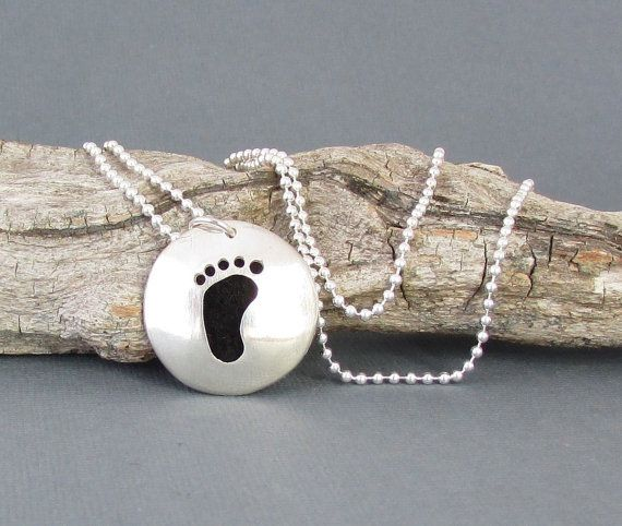 Sterling Silver Essential Oil Necklace with hand cut Baby's Foot by Quiet Time Jewelry