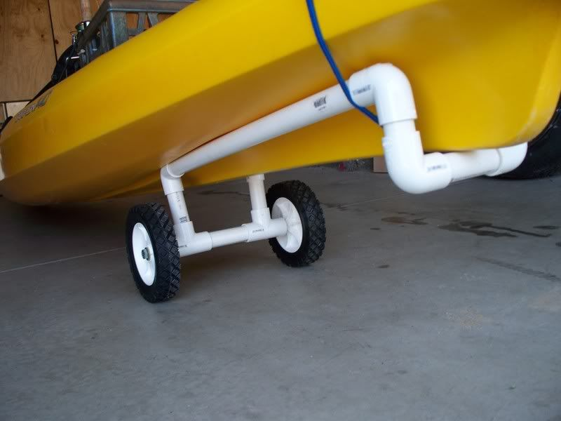Diy kayak cart topic my diy kayak cart for my tarpon for Harbor freight fishing cart