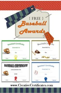 a variety of free printable baseball certificates many more free sports awards and award certificates