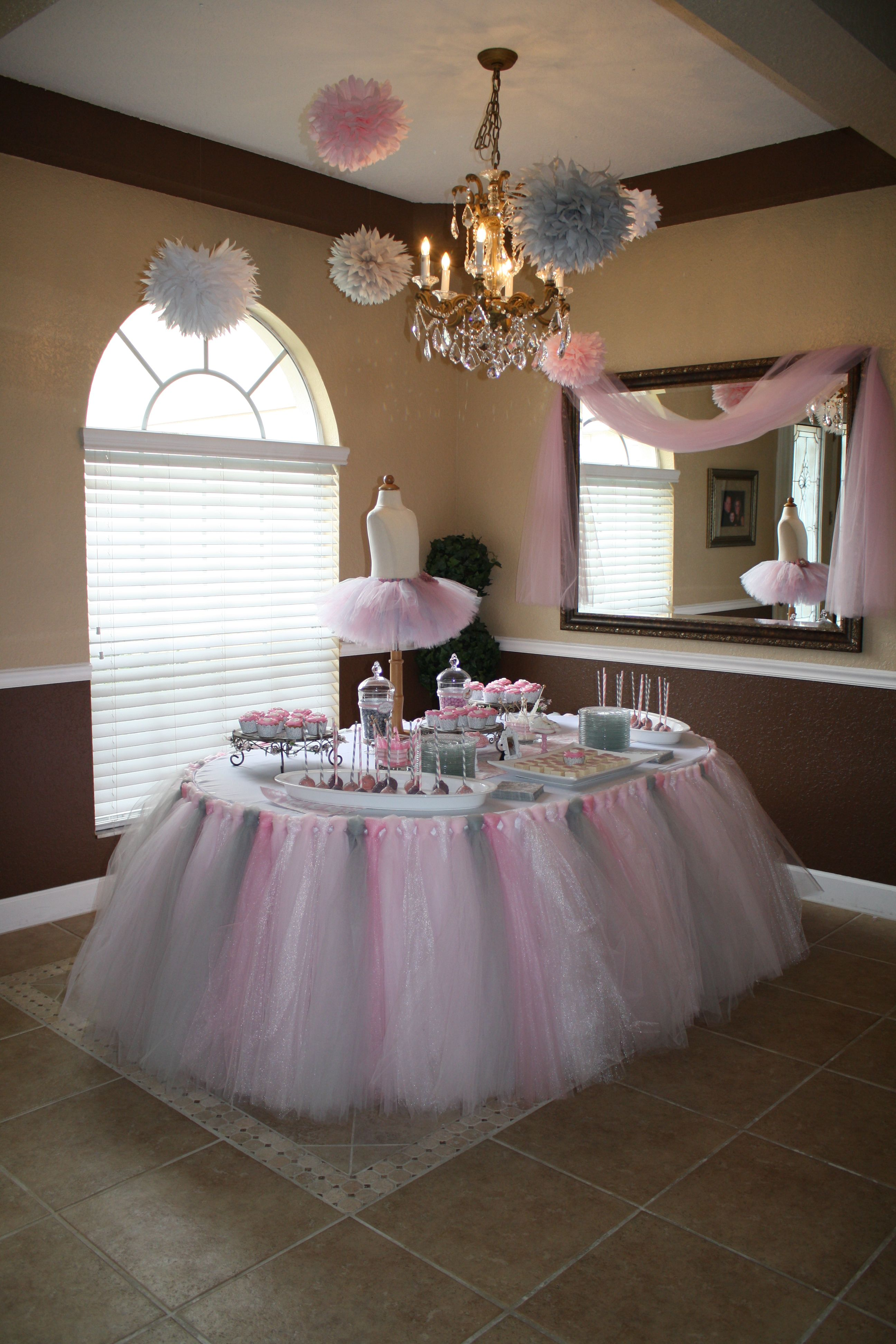 Tulle Baby Shower Decoration Ideas baby shower or cute little girls baby shower! | baby shower