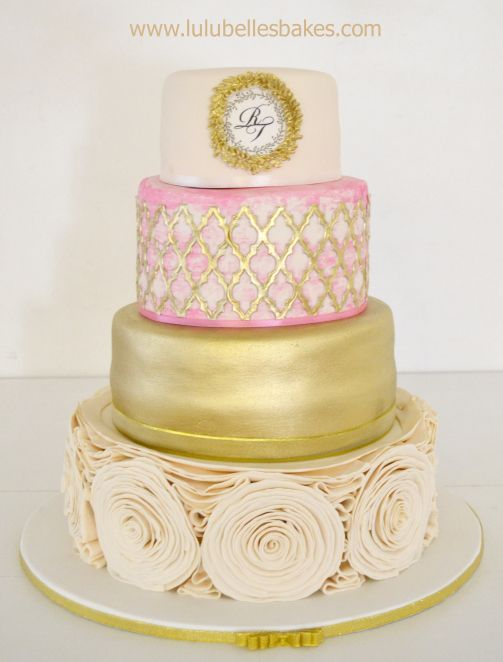 Monogram 4 tier wedding cake with gold cake lace and rose detail ...