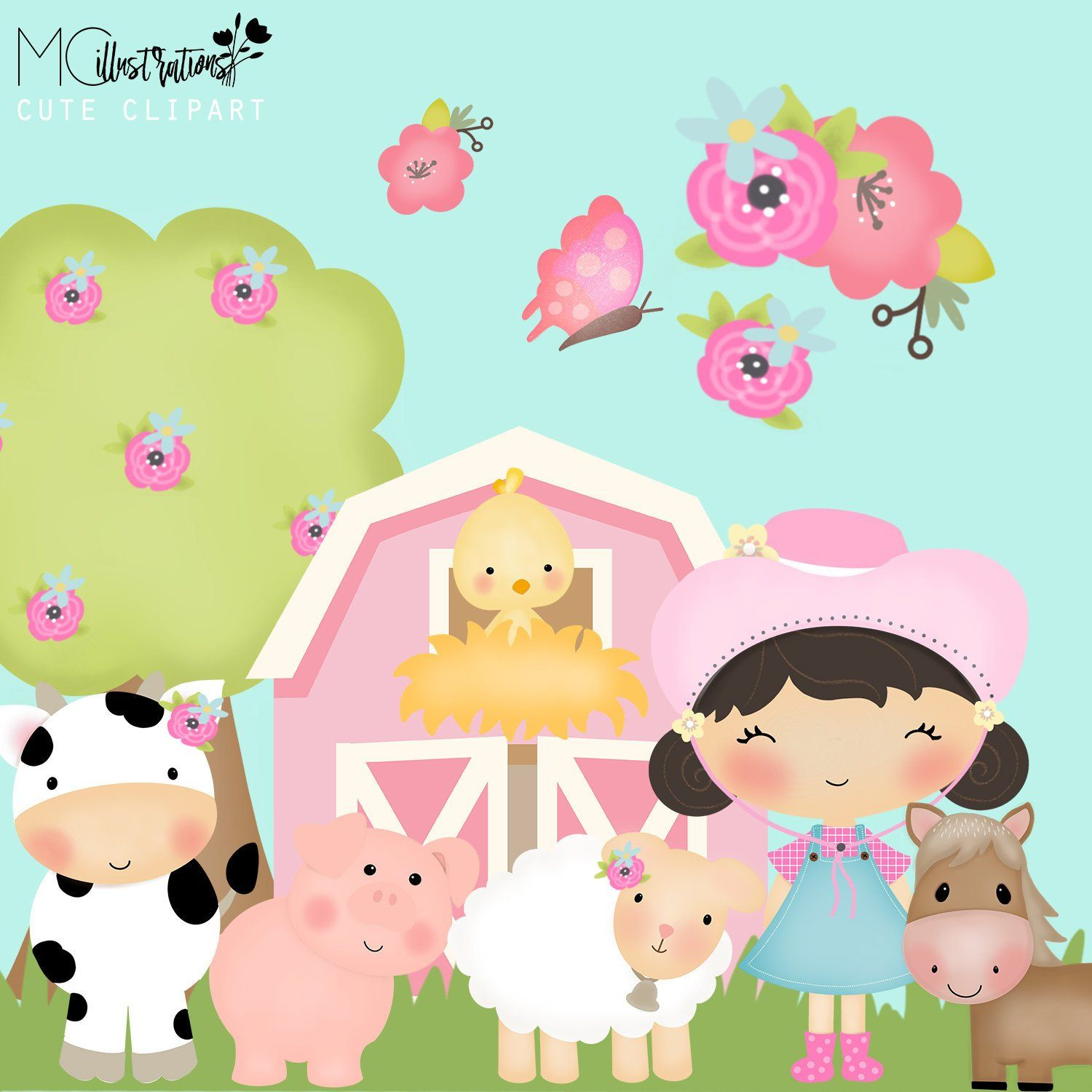 medium resolution of farmer girl clipart farm animals clipart set farm barn farmyard animals sheep cow horse chicken commercial use ok
