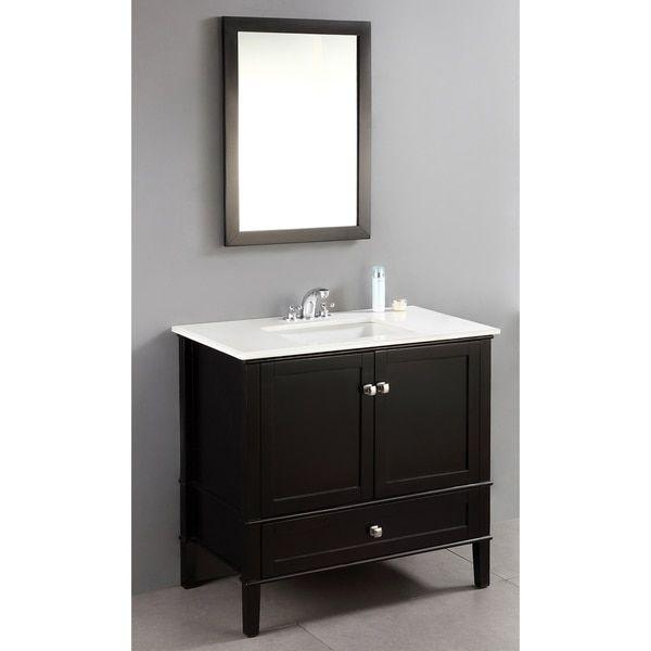 WYNDENHALL Windham Black Inch Door Bath Vanity Set With - 36 inch bathroom vanity with drawers for bathroom decor ideas