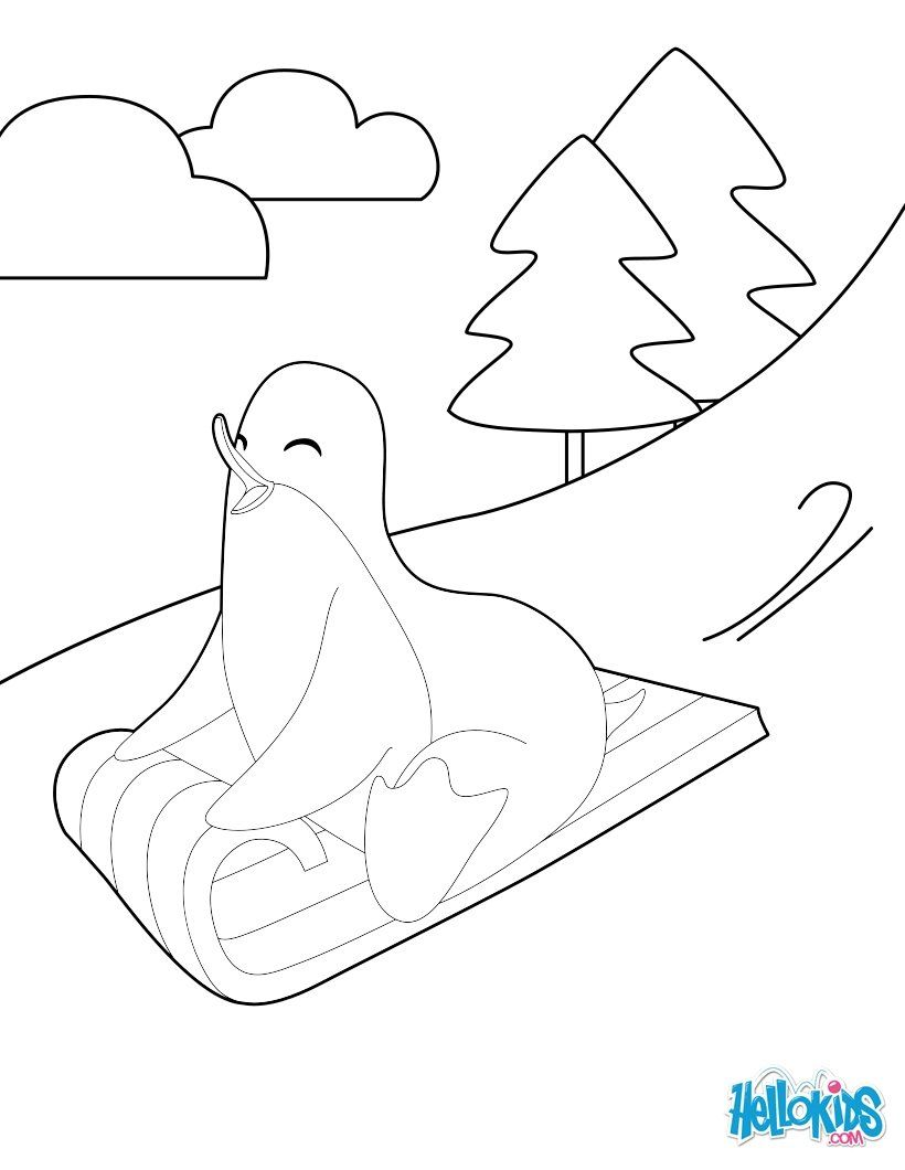 This Sledding Penguin Coloring Page Is So Cute And Perfect For