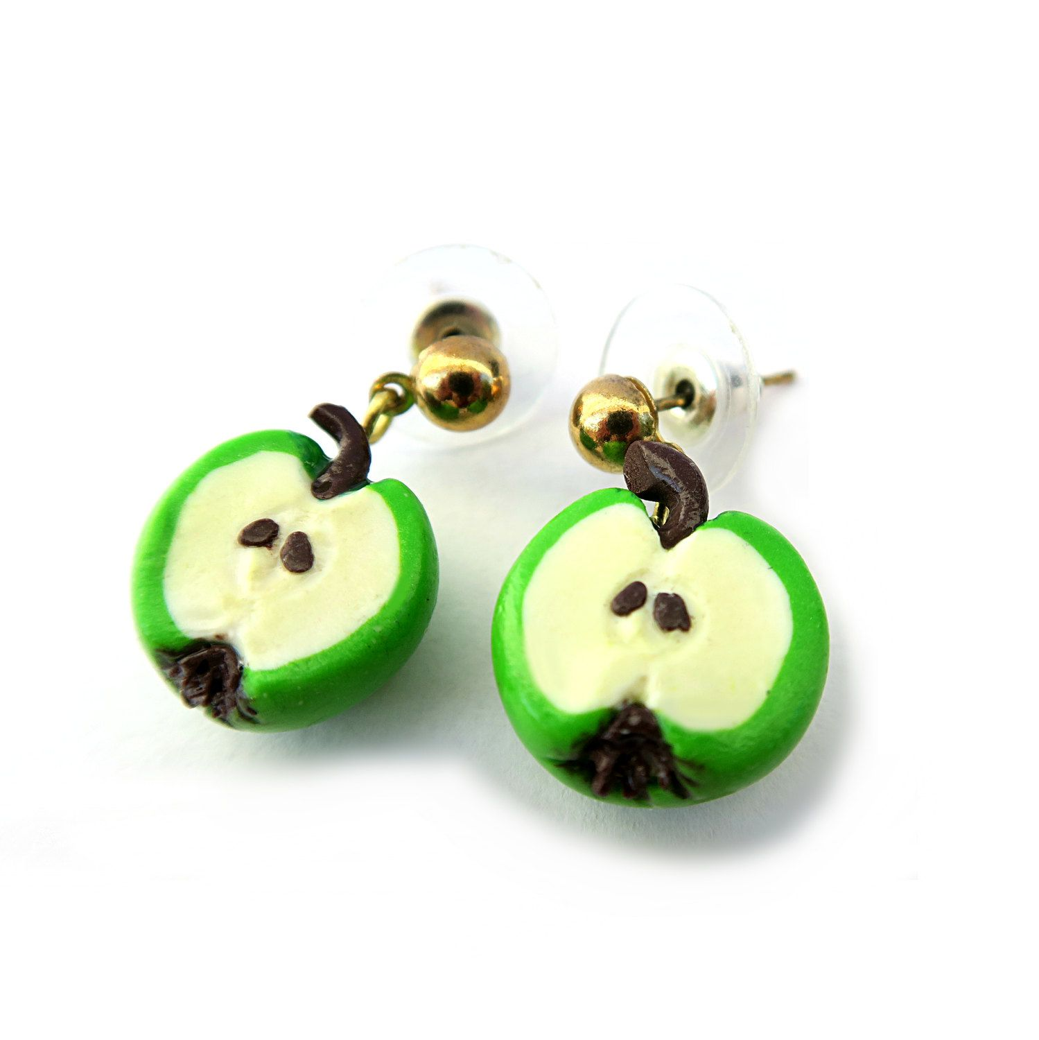 Apple earrings. Mini fruit in polymer clay. Food Jewelry. by RITAcreativedesign on Etsy