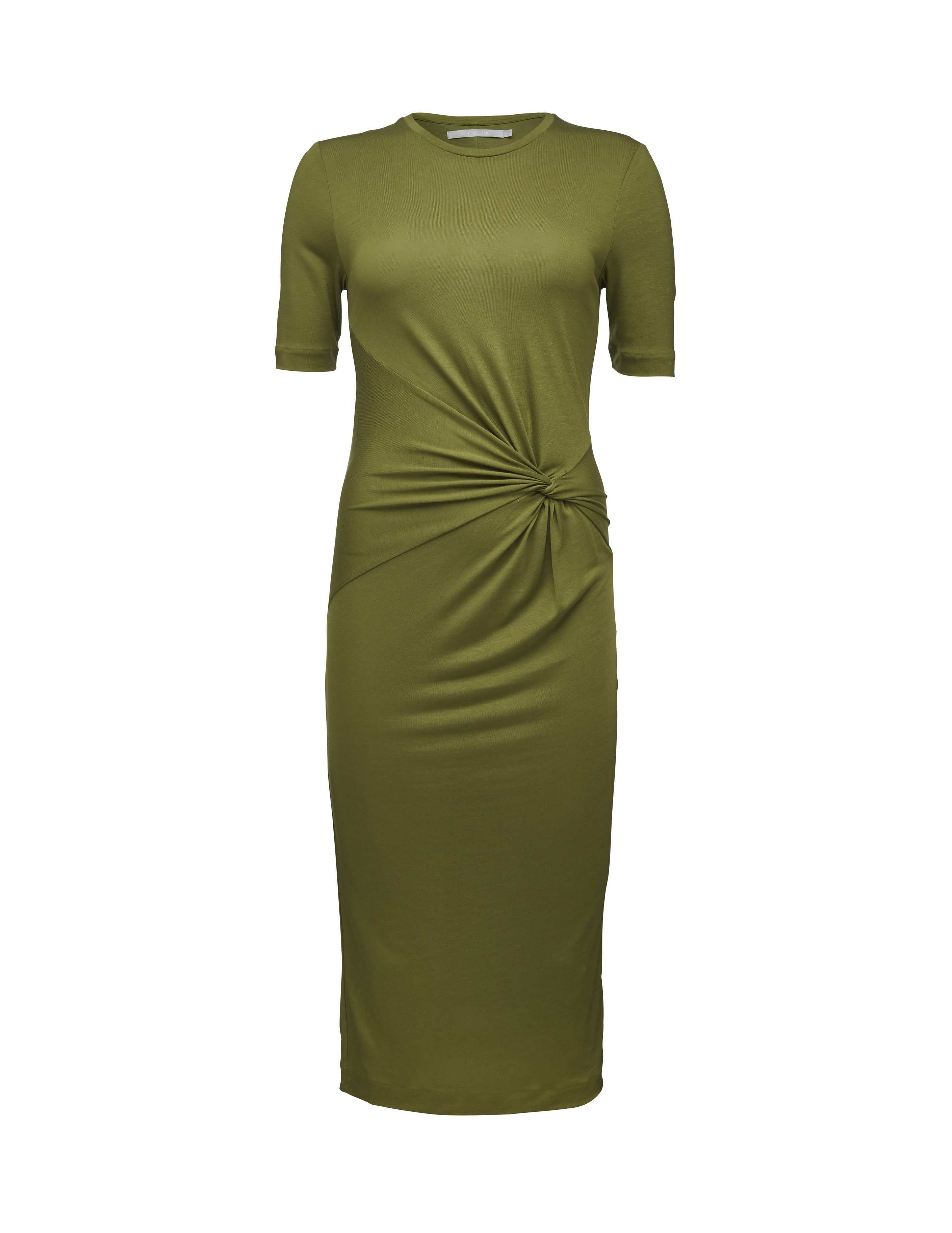 Womenus shortsleeved dress in heavy lyocell features offcentre