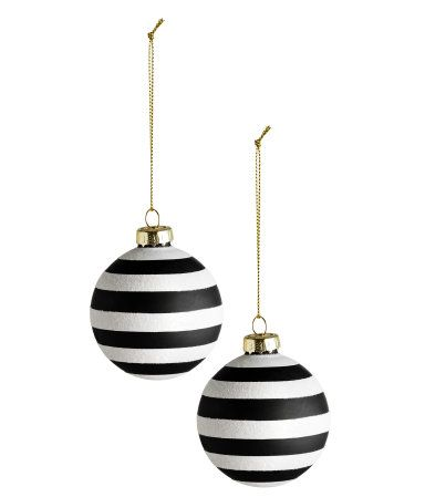 White Black Christmas Ornaments In Striped Glass Metal Hanger At Top With Glittery Cor White Christmas Ornaments Christmas Tree Baubles Black White Christmas