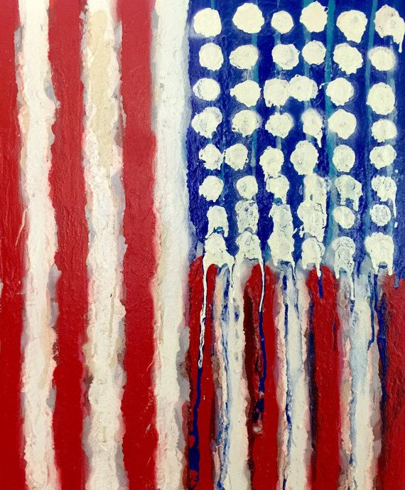 Reserved american flag art original abstract painting for Painted american flag wall art