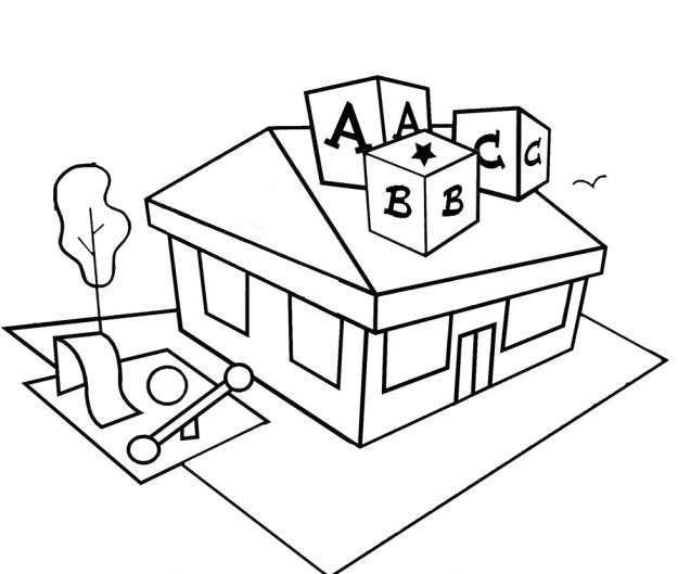 Dibujo escuela para colorear | Vocabulario Inglés | Pinterest